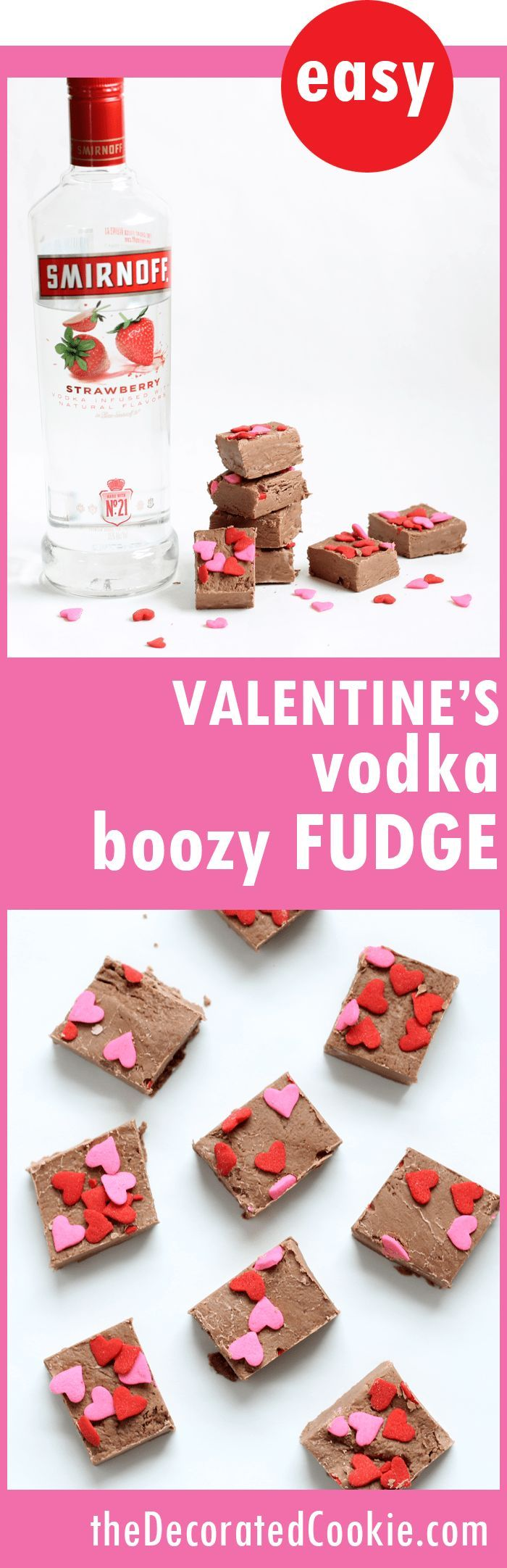 Valentine's Day boozy fudge -- 3-ingredients, dark chocolate with strawberry VODKA