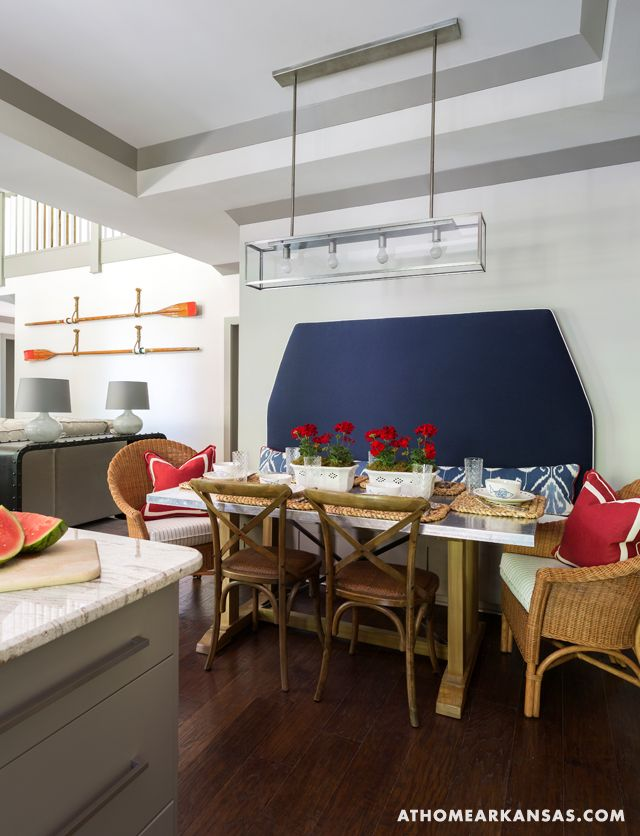 At Home in Arkansas | July 2014 | Nautical Escape | Photography: @nancynolan Wipeable fabrics and a stainless-steel topped table in the dining area reflect the nautical theme and are perfectly kid-friendly.