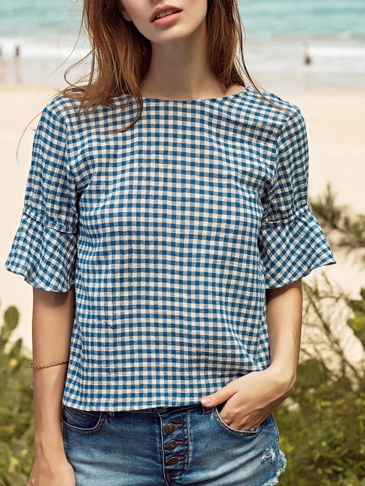 Ruffle Sleeve Low Back Gingham Top
