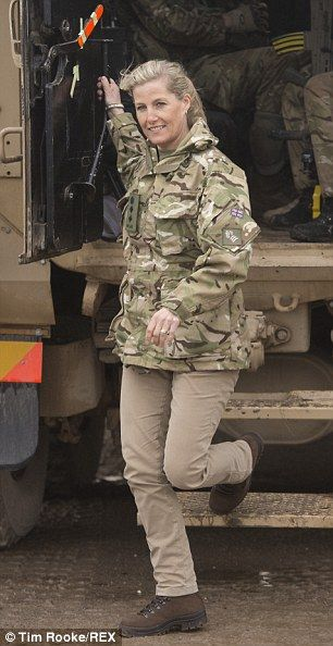 Pro: Sophie's visit also included a ride in an armoured vehicle  8 May 2014
