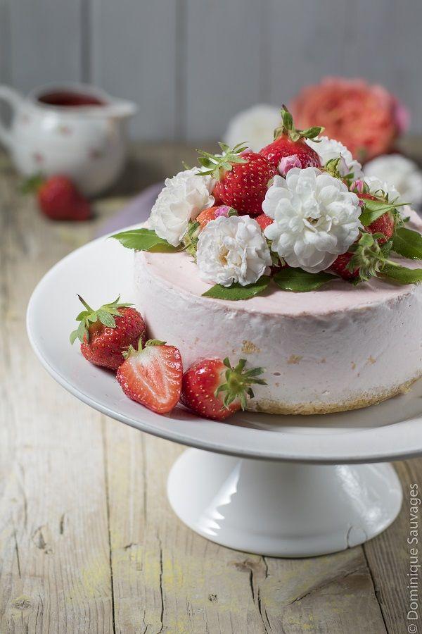 cheesecake cheese-cake fraise rose gâteau fête mères