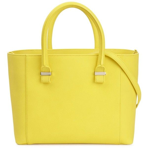 Womens Shoulder Bags Victoria Beckham Quincy Yellow Leather Tote (1,985 CAD) ❤ liked on Polyvore featuring bags, handbags, tote bags, leather purse, leather shoulder bag, handbags totes, yellow tote bag and genuine leather handbags