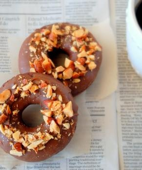 Chocolate Doughnuts with Butterscotch Glaze and Salted Almonds. Gluten-free, corn-free, dairy-free