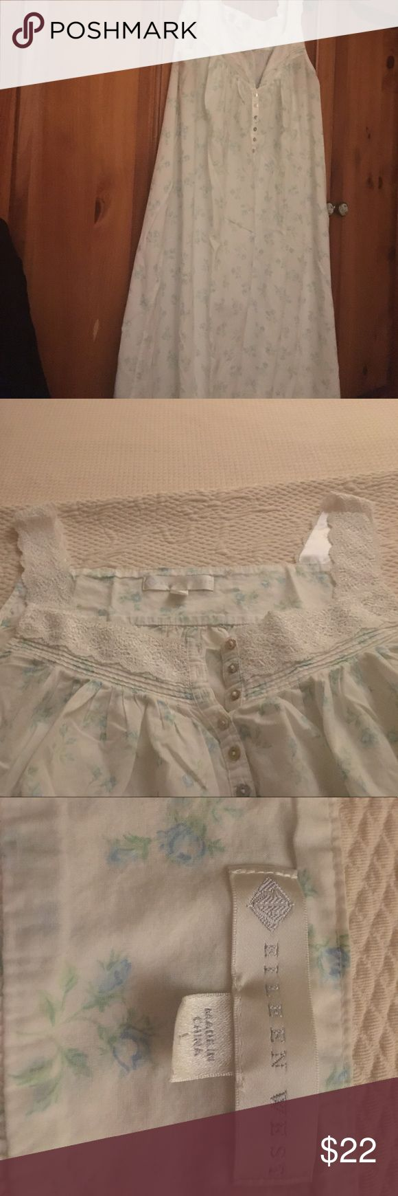 Eileen West long cotton nightgown. Size L Eileen West long cotton nightgown. Very fine soft cotton with pretty lace trim at neckline and shoulder straps. Delicate pleated trim at hemline. Aqua-color rosebuds on white background. Excellent condition. Intimates & Sleepwear Chemises & Slips