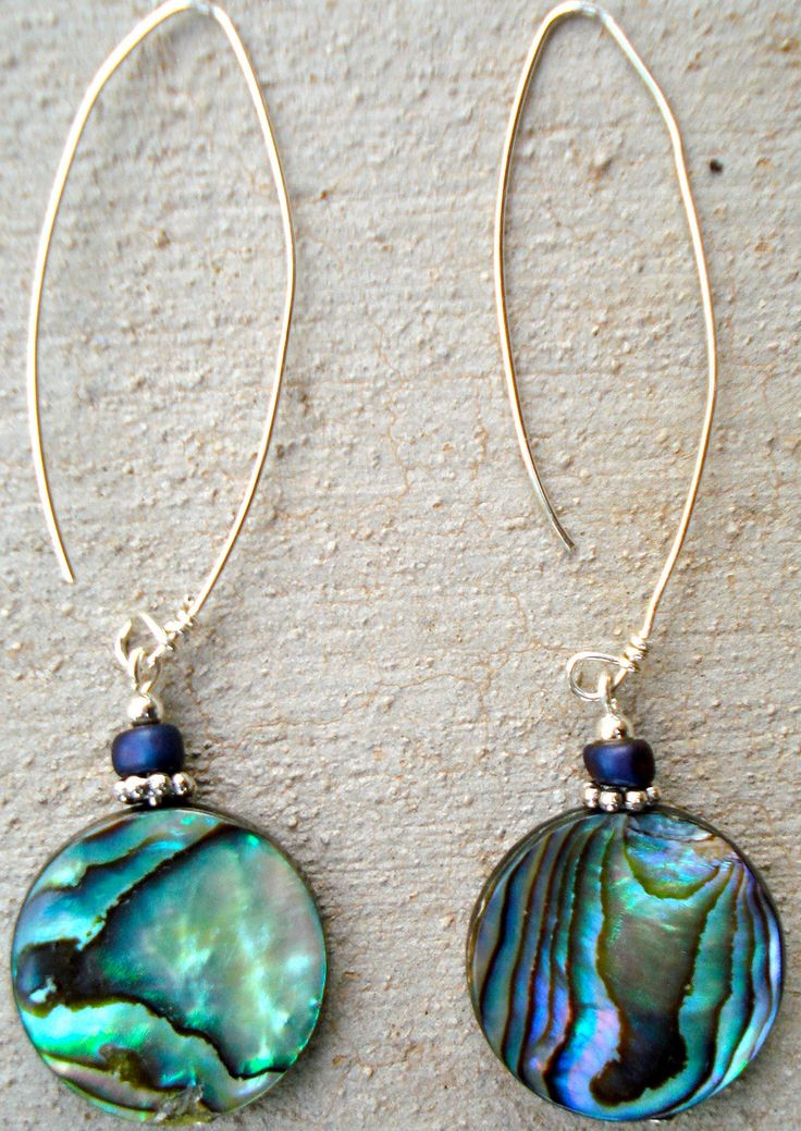 Abalone shell on sterling wire by IfetayoArtwear on Etsy