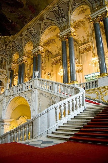 """The Main Staircase of the Winter Palace - cannot even begin to imagine calling this """"home"""". Breathtaking."""