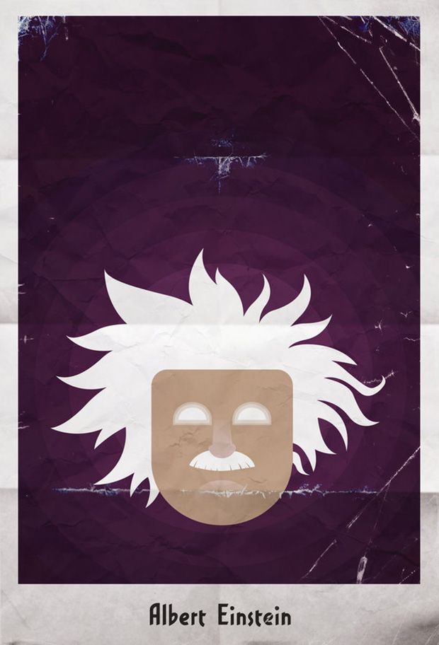Science Super Hero Posters // 10 Amazing Albert Einstein Portraits for His 134th Birthday