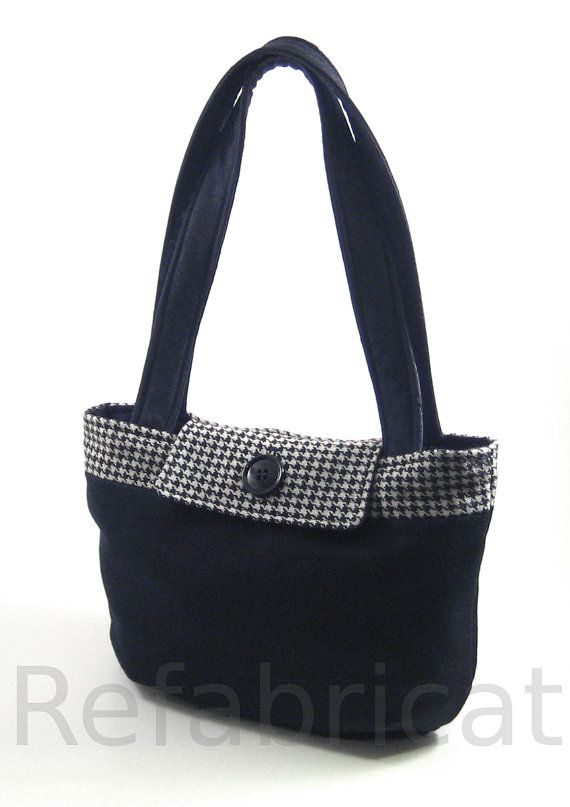 Handmade bag repurposed from a wool skirt, houndstooth jacket, and polyester necktie.