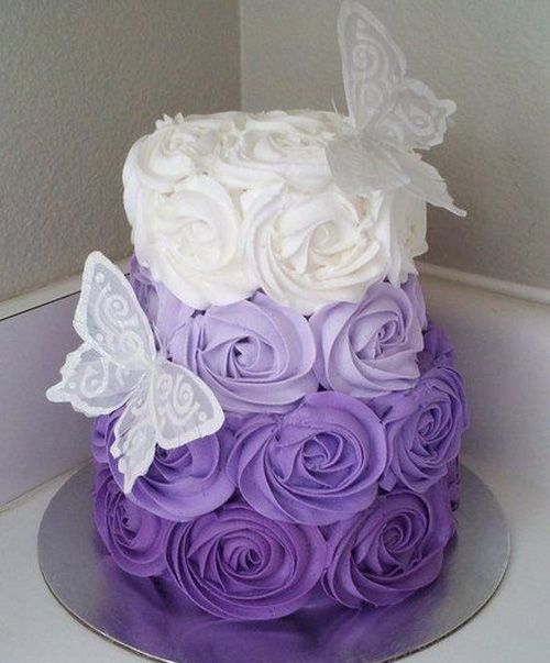 Beautiful Purple White Rossette Wedding Cake but without the butterfly's