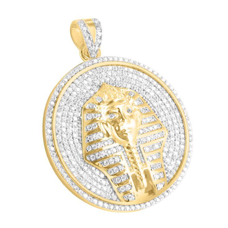 925 Silver Lab Diamond Medallion Round 14K Gold Tone Pharaoh Pendant