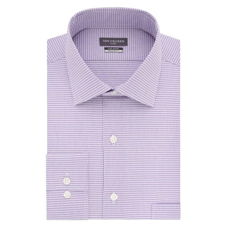 Men's Van Heusen Flex Collar Regular Fit Stretch Dress Shirt, Lt Purple