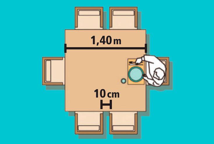 Medidas para MESA DE JANTAR QUADRADA 6 lugares - Lado a lado, duas cadeiras necessitam de 1,40 m. Por isso, escolha modelos quadrados partindo dessa medida – eles comportam até oito pessoas.