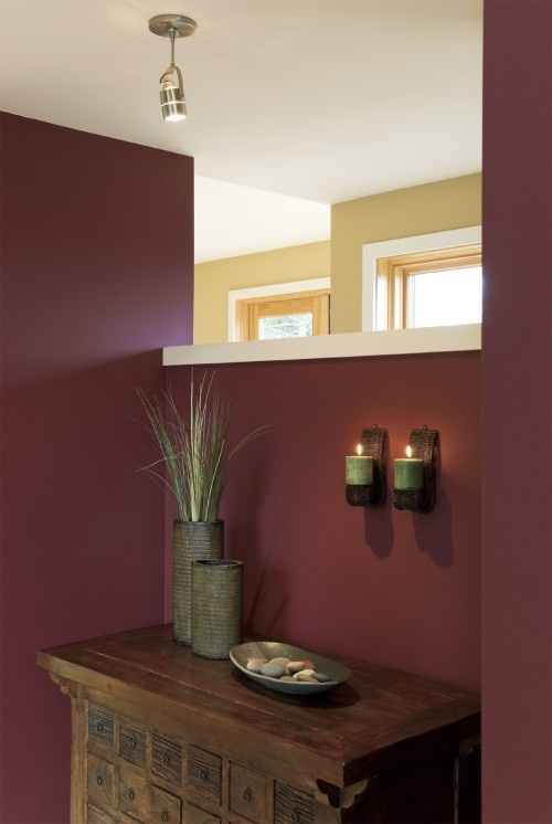 Burgundy Accent Wall In Living Room See More Plum Green Accents Gold Cheerful Cherry 8693 By Cloverdale Paint