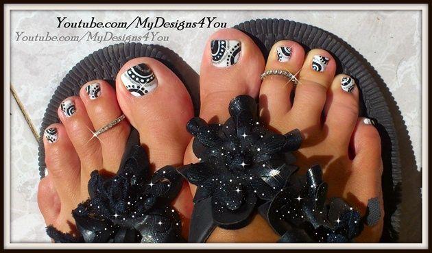 BLACK AND WHITE TOENAIL DESIGN  by MyDesigns4you - Nail Art Gallery nailartgallery.nailsmag.com by Nails Magazine www.nailsmag.com #nailart