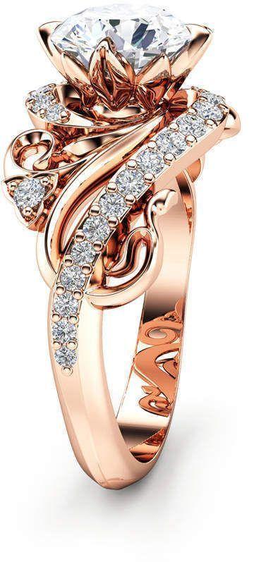 Etsy Art Nouveau Moissanite Engagement Ring 14K Rose Gold Ring Round Cut Moissanite Engagement # Ring #AffiliateLink #Ad #moissaniterings