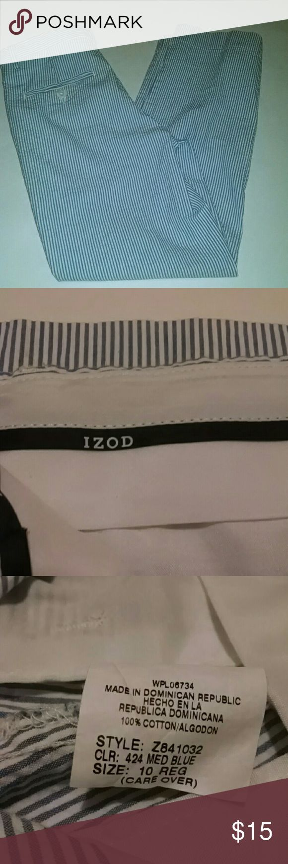 Izod Seersucker Pants ADORABLE! Carolina blue pinstripe for your little preppy gent. 12.5 waist 23 inch inseam... Approximate measure. Side slits pockets gently used condition Izod Bottoms