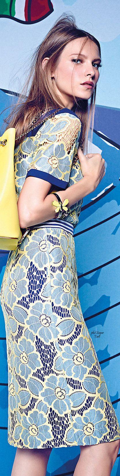 Patrizia Pepe ~ Blue Floral Print Midi Dress, Summer 2015