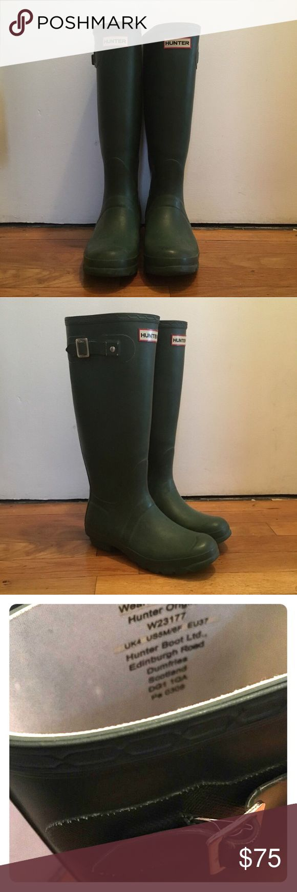 Original Tall Hunter Boots Forest Green Original Hunter Tall Rain Boots, with adjustable strap. Very good condition.  Color: Forest Green.  Labeled Size: EU 37.  Fits US 38, or US size 7.5 - 8 (my usual size).  Original price $120.  #hunterboots #rainboots #snow #waterproof #hunter #boots Hunter Boots Shoes Winter & Rain Boots