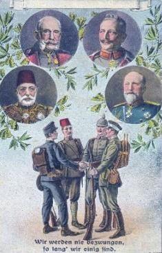 Central Powers: Ottoman Empire, German Empire, Austro-Hungarian Empire... and Bulgaria (snicker)