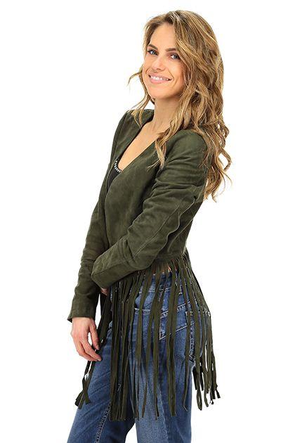 Vintage De Luxe - Giacche - Abbigliamento - Giacca in camoscio con frange sul fondo. Foderata.La nostra modella indossa la taglia /EU 40. - MILITARE - € 498.00