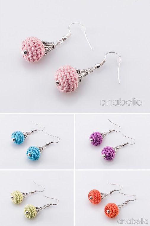 Delicate crochet tiny earrings. Lovely!!