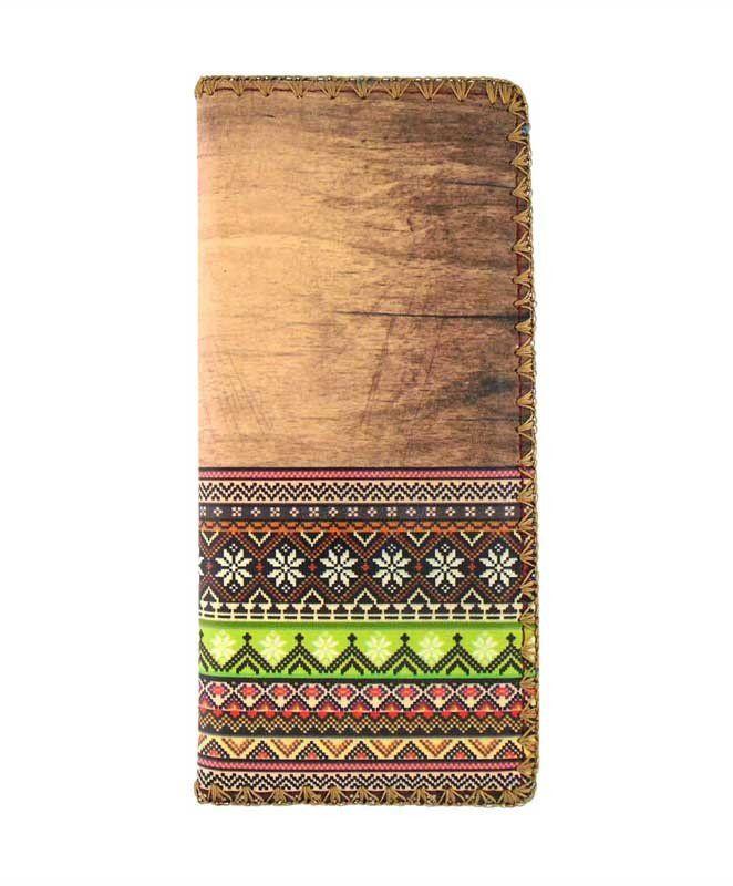 Mlavi toxic-free vegan leather large wallet with Aztec pattern print