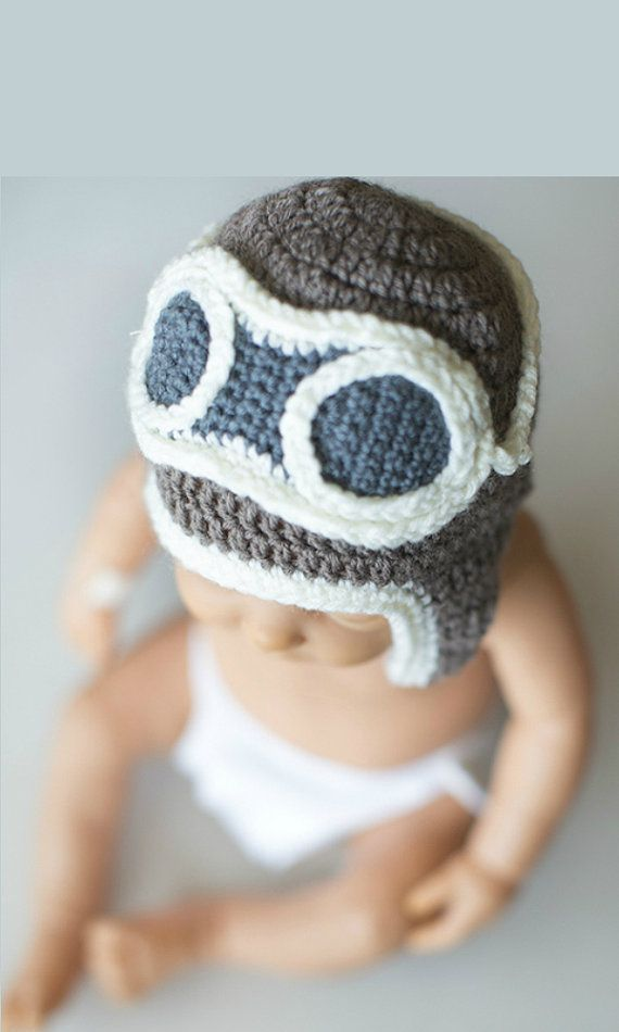 Crochet Newborn Hat, Pilot baby Hat, Crochet pilot hat, Photo Prop