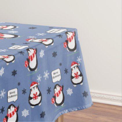 Merry Christmas Penguin blue Holiday Tablecloth - merry christmas diy xmas present gift idea family holidays