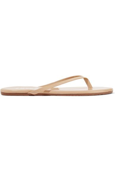 TKEES - Lily Patent-leather Flip Flops - Beige - US10
