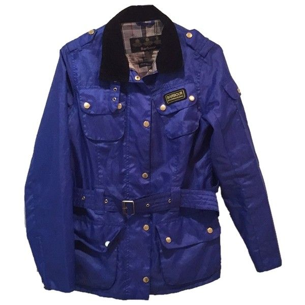 Pre-owned Barbour Raincoat (€150) ❤ liked on Polyvore featuring outerwear, coats, blue, barbour raincoat, lightweight coat, rain coat, lightweight rain coat and lightweight raincoat