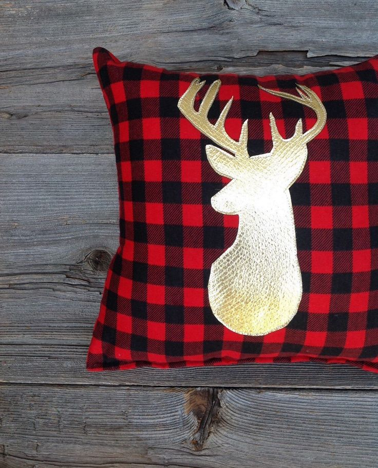 Buffalo Plaid Pillow, Lodge Decor, Deer Pillow, Gold Christmas, Holiday Decor, Gifts Under 25, Antler, Throw Pillow, Cushion, Metallic, Red by JadieCakes on Etsy https://www.etsy.com/listing/244954302/buffalo-plaid-pillow-lodge-decor-deer