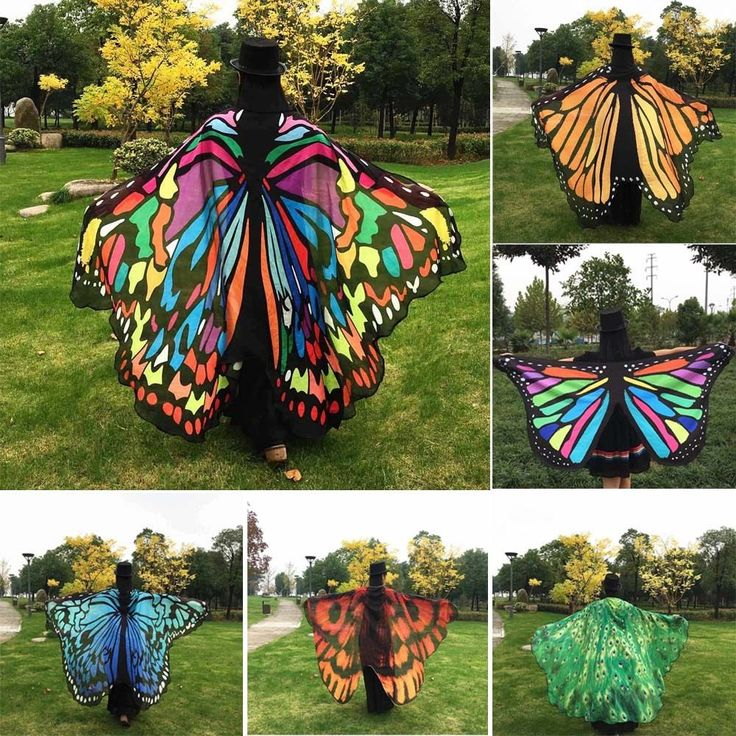 Colorful Soft Fabric Butterfly Wings Fairy Ladies Nymph Pixie Costume Accessory #bessky_star