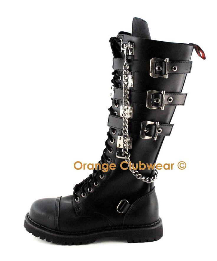 Demonia Gravel 23 Women's Punk Combat Knee Boots Shoes