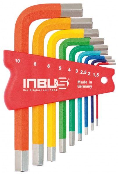 INBUS® 70259 - farbcodiert kurz bunt 9tlg. 1,5-10mm Made in Germany      Satz 9tlg. 1.5-10mm     hochwertig pulverbeschichtet     jeder Größe ist eine eigene Farbe zugeordnet     optisch sehr ansprechend und funktional     10 Jahre Garantie     Marke: INBUS® - Das Original seit 1934.  http://www.inbus.de/home/inbus-farbcodiert/53/inbus-70259-inbusschluessel-satz?c=8