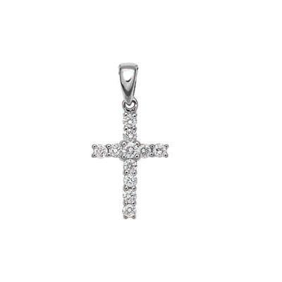 18CT WHITE GOLD 11 DIAMOND CROSS R81960, Temelli Jewellery