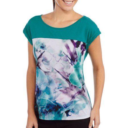 Project Karma Women's Floral Boxy T-Shirt, Size: Medium, Blue