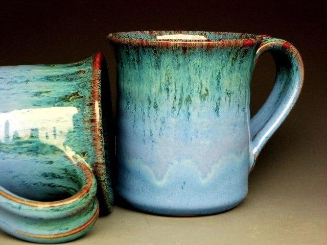 blue & teal ceramic mug $20 from darshanpottery on Etsy