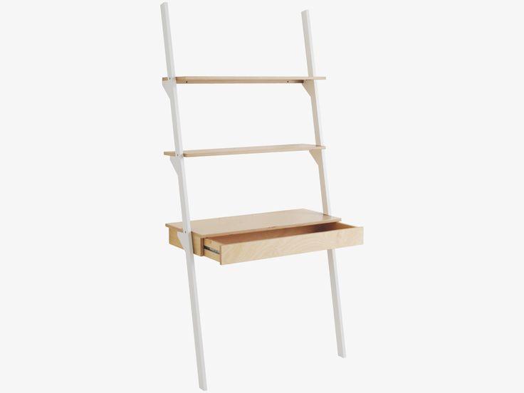 JAI WHITES Wood White ladder shelving unit with desk - HabitatUK