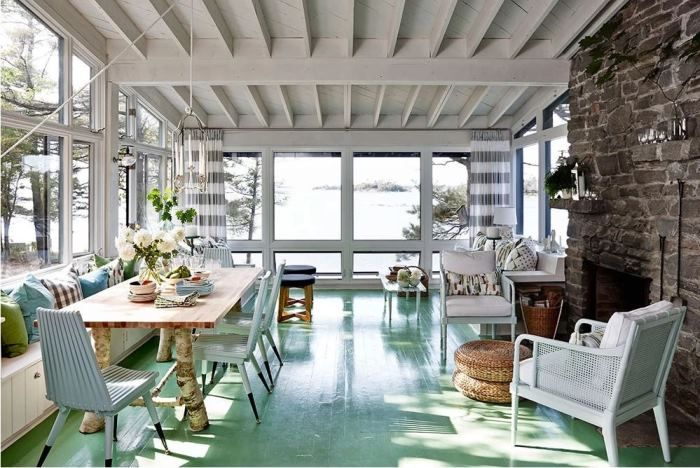 Vacation in Designer, Sarah Richardson's Island Cottage, It's For Rent! Love that floor color!