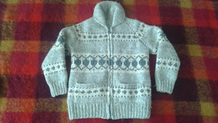 Vintage Cowichan hand knit in Canada Tuak pure virgin wool unisex S-L by prettycatvintage on Etsy