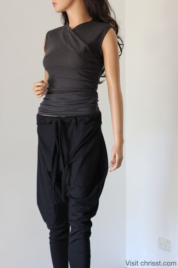 Black Drop Crotch Pants Yoga Track Suit  CHRISST