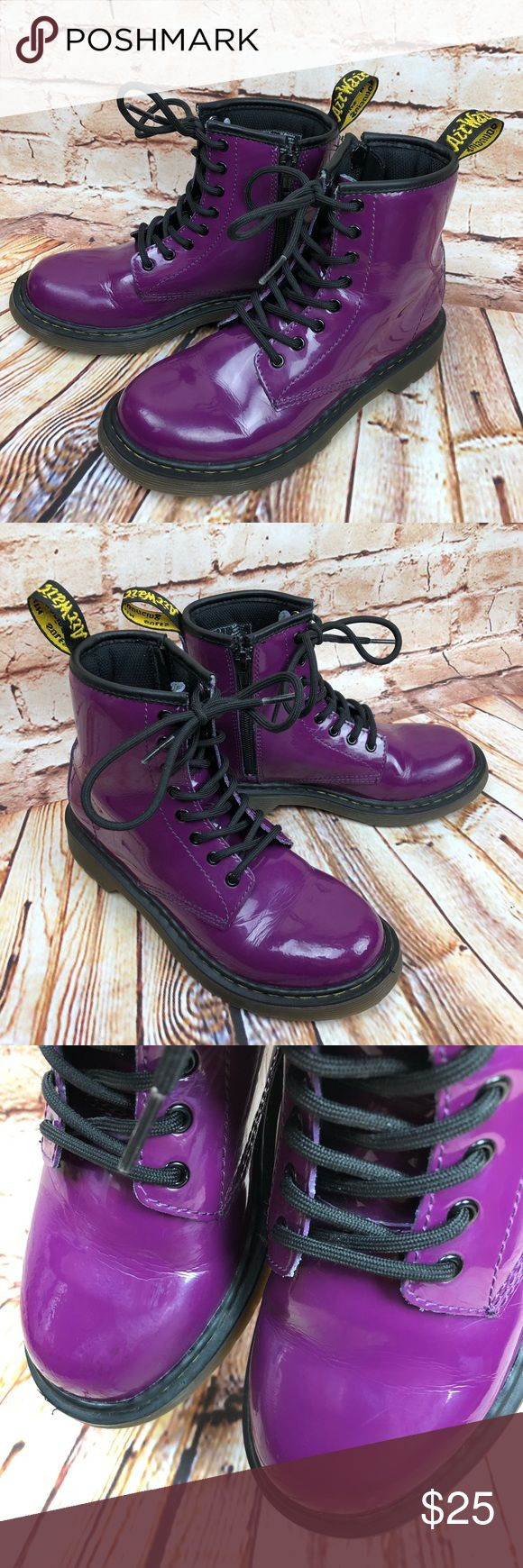 Doc Martens Delaney Patent Leather Boots AirWair These boots are in very good, lightly worn condition. US Size 2 * EU 33 * UK 1 Minor scuffs, scratches and marks from wear. Please see pics for more details (: Dr. Martens Shoes Boots