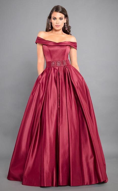 Rachel Allan Couture - 8306 Off-Shoulder Matte Satin Ballgown in Marsala (ballgown skirt, pockets, back zipper, sweep train, embellished belt, natural waist)