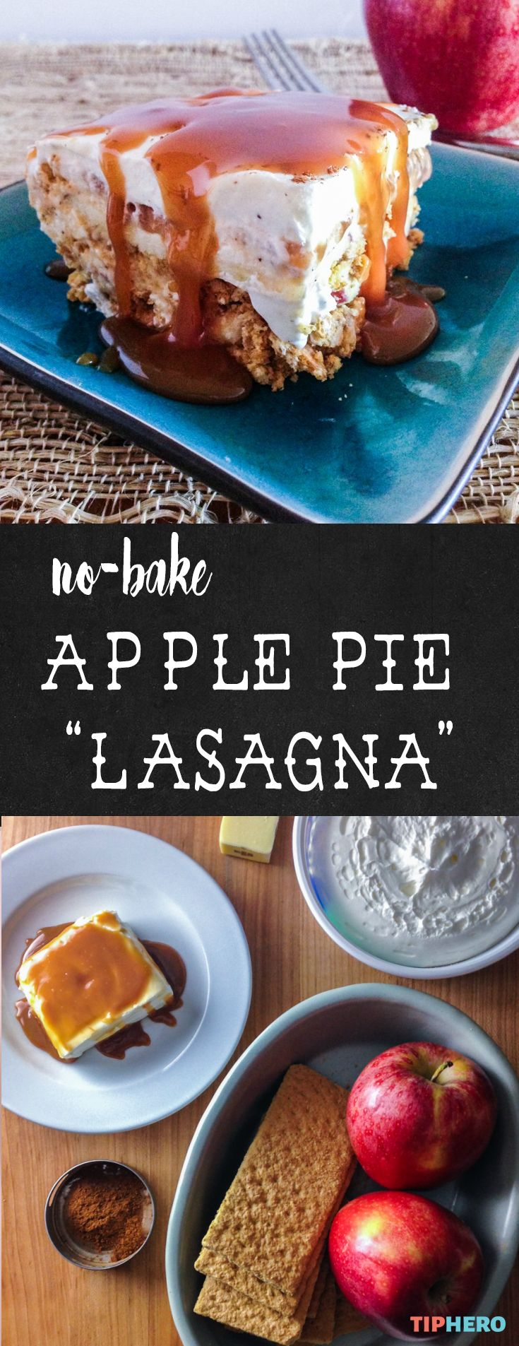 No- Bake Apple Pie? Yes, please! This dessert is decadent, sweet, and easy to make. Layered like a lasagna it with the creaminess of a cheesecake. And all it takes to make is cream cheese, caramel sauce, butter, graham crackers, apples, cool whip topping, and cinnamon. Yum! Click for the recipe and how to. #dessert #sweettreats #nobake #crowdpleasers #recipes