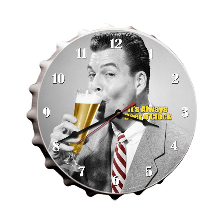 Beer O'Clock From the Keg Works licensed collection, this Beer O'Clock clock measures 16 inches by 16 inches and weighs in at 4 lb(s). This clock is hand made in the USA using heavy gauge American steel and a process known as sublimation, where the image is baked into a powder coating for a durable and long lasting finish. This clock includes an American made quartz clock movement (requires one AA battery) for years of accurate time keeping and is covered with a clear acrylic lens.