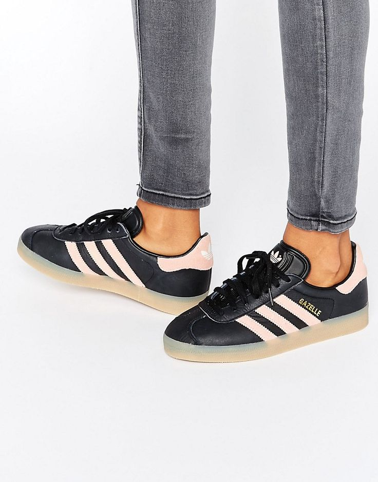 Image 1 of adidas Originals Black And Pink Gazelle Sneakers With Gum Sole