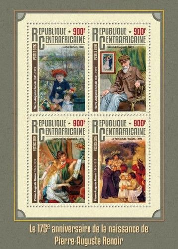 """CA16311a 175th anniversary of the birth of Pierre-Auguste Renoir (Pierre-Auguste Renoir (1841-1919) """"Two Sisters"""", 1881; """"Dance at Bougival"""", 1883; """"Girls at the Piano"""", 1892; """"The Artist's Family"""", 1896)"""