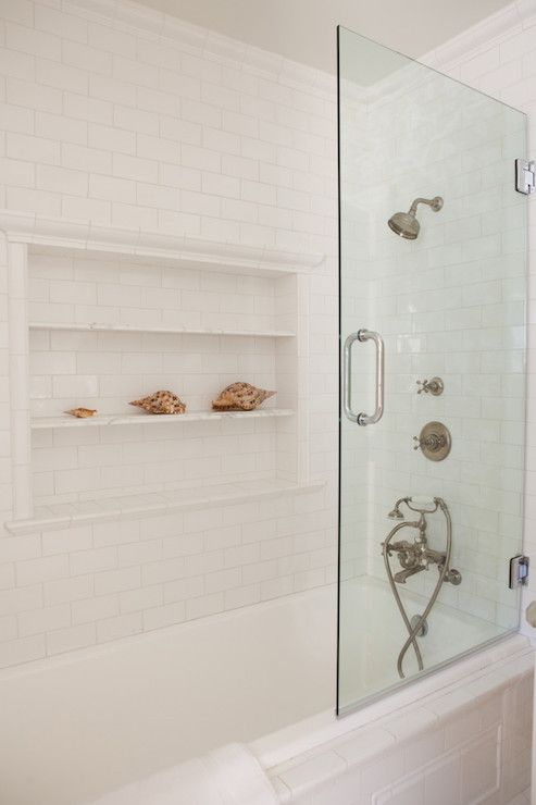 Ellies bathroom ...This simple white shower is understated in its beauty! Proof that minimalism sometimes is the right way to go! From Kathleen DiPaolo Designs