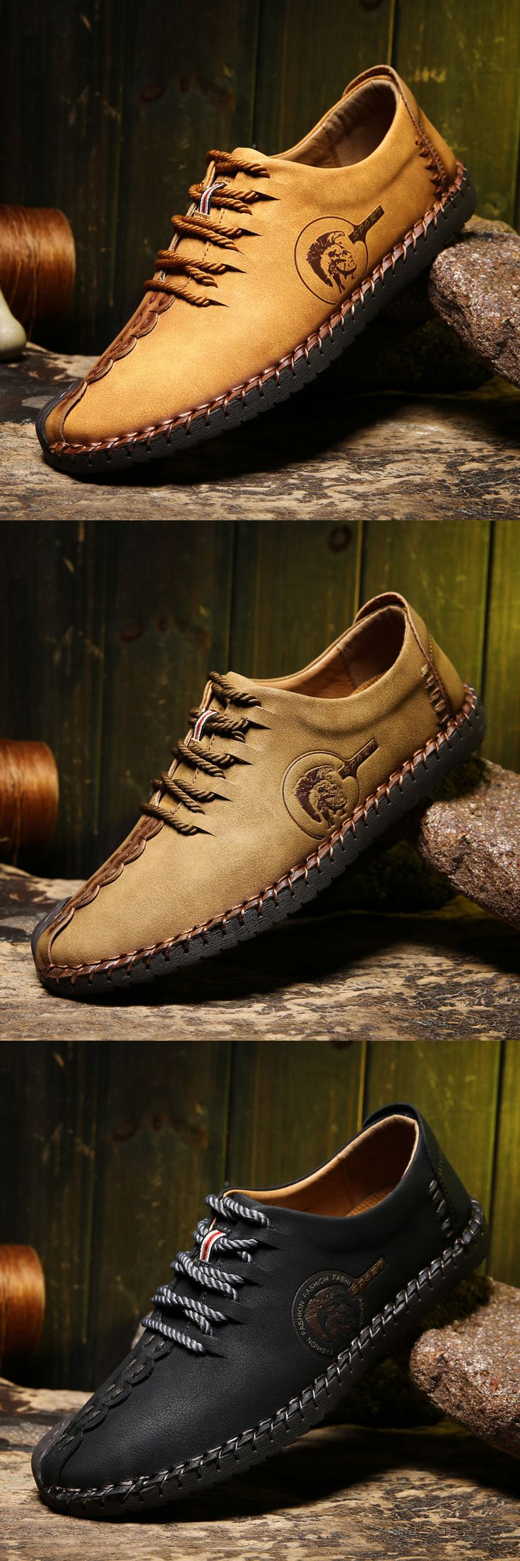 ce6f99cc50b5a These are nice stylish shoes.Men British Style Retro Stiching Soft Sole  Lace Up Flat Cap-toe Casual Shoes