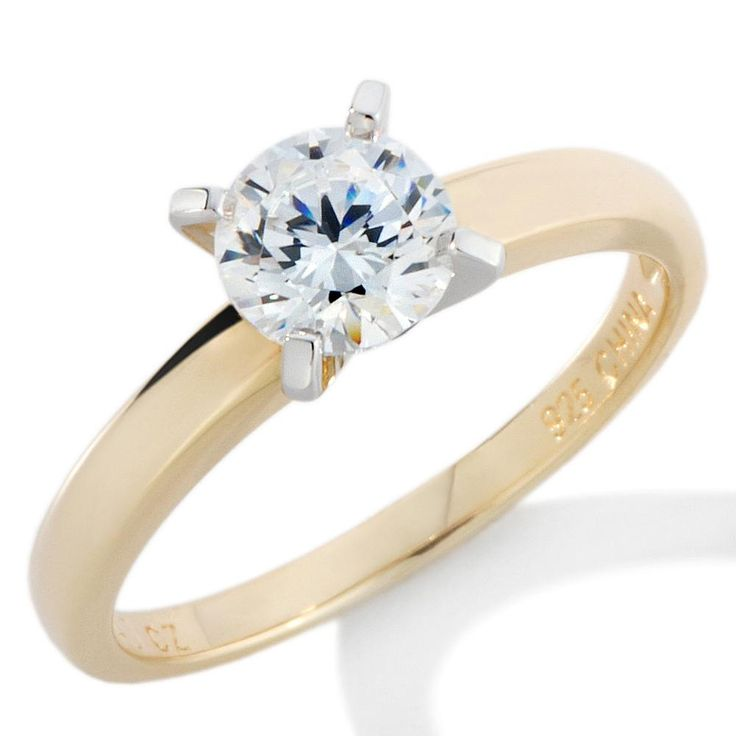 1ctw Absolute™ Gold-Plated Sterling Silver Round Solitaire Ring